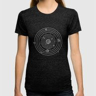 SOLAR SYSTEM Womens Fitted Tee Tri-Black LARGE