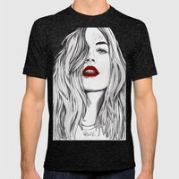 Girl With The Red Lips Mens Fitted Tee Tri-Black SMALL