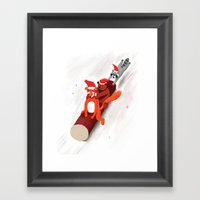 Christmas fox, bear and raccoon Framed Art Print
