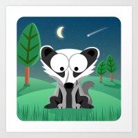 Woodland Animals Series II. Badger Art Print