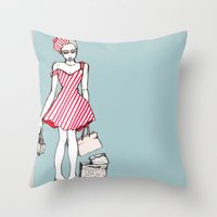 Frazzled Shopper Throw Pillow