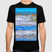 Abstract beautiful ocean waves Mens Fitted Tee Black SMALL