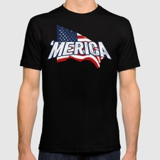 'MERICA Black Mens Fitted Tee SMALL