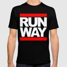 RUNWAY SMALL Black Mens Fitted Tee