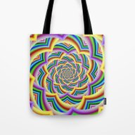Colorful Curved Chevron … Tote Bag