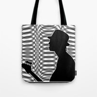 Bass Guitar Player Silhouette B/W Tote Bag