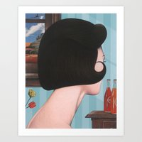 Girl With Hairdo Art Print