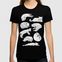 Sleeping Cats Womens Fitted Tee Black SMALL