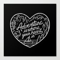 Adventure is where your heart is BW Canvas Print