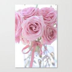 Cottage Pink Pastel Roses Canvas Print