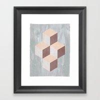 four cubes sixteen diamonds Framed Art Print