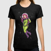 Retro Spacegirl Womens Fitted Tee Tri-Black SMALL