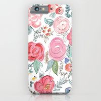 iPhone Cases featuring Watercolor Floral Print by Jenna Kutcher