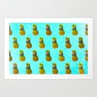 Pineapple Blue Pattern Art Print