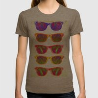 Sunglasses In Paradise Womens Fitted Tee Tri-Coffee SMALL