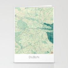 Dublin Map Blue Vintage Stationery Cards