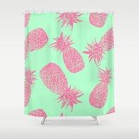 Pineapple Pattern - Mint & Crimson Shower Curtain