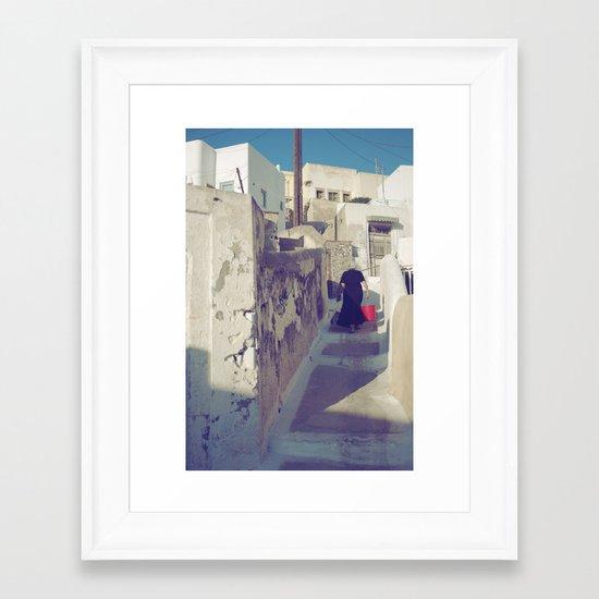 Streets of Santorini IV Framed Art Print