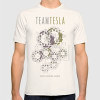 Team Tesla Mens Fitted Tee Natural SMALL