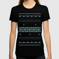 Christmas Pattern Womens Fitted Tee Black SMALL