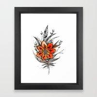 Bronze flower Feather Framed Art Print