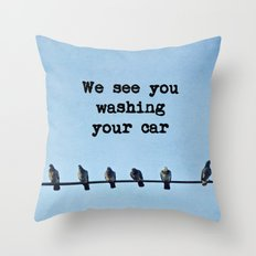 When Pigeons Plan... Throw Pillow