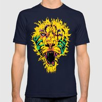 Hannibal Tripped Mens Fitted Tee Navy SMALL