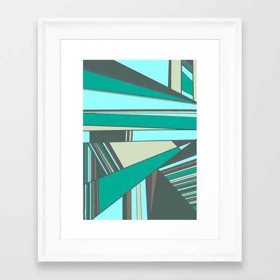 Triangles and Stripes Framed Art Print