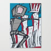 Manhattan vs. Depressed Giant Robot Canvas Print