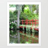 Red Bridge over the Magnolia Swamp Art Print