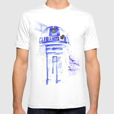 R2-D2 R2D2 droid watercolor Wars Scifi Star FAnart Mens Fitted Tee White SMALL