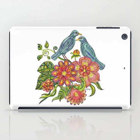 Fly Away With Me - Hand drawn illustration with birds, flowers and leaves. iPad Case