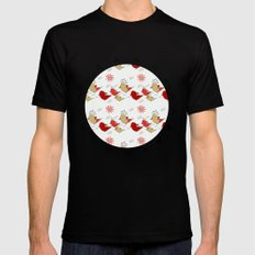 Cute birds pattern Mens Fitted Tee Black SMALL