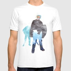 Defender White SMALL Mens Fitted Tee