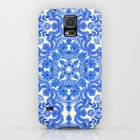 Galaxy S5 Cases featuring Cobalt Blue & China White Folk Art Pattern by micklyn