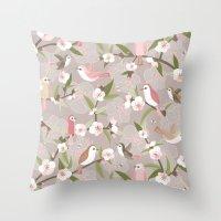 Blossom and birds Throw Pillow
