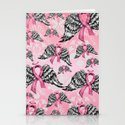 Breast cancer awareness winged ribbons pattern.  Stationery Cards
