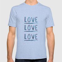 Love Love Love Mens Fitted Tee Athletic Blue SMALL