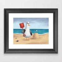 Seagull's Sandcastle Framed Art Print