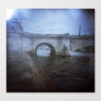 Paris Bridge & Seine Holga Double Exposure Canvas Print