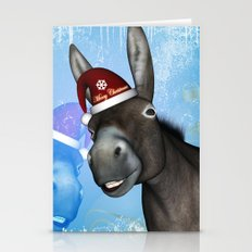 Funny christmas donkey Stationery Cards