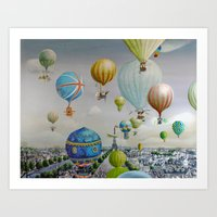 Ballooning over everywhere: Paris Art Print