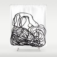 Paint 2 abstract black and white minimal brushstroke japanese modern home decor dorm college  Shower Curtain