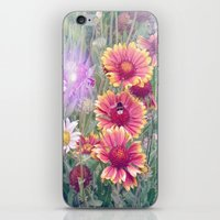 Multi Coloured Flowers with Bee iPhone & iPod Skin