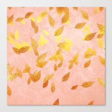 Autumn-world 2 - gold leaves on pink  Canvas Print
