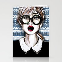Girl and blue pattern Stationery Cards