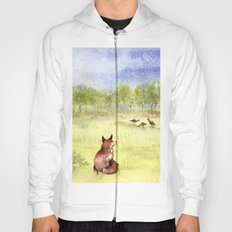Red Fox Watching Wild Turkeys - Watercolor Hoody