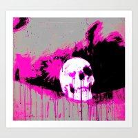 Pink Black Skull Art Print