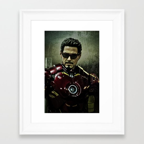 Tony Stark in Iron man costume  Framed Art Print