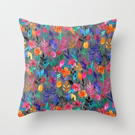Throw Pillow - Popping Color Painted Floral on Grey - micklyn